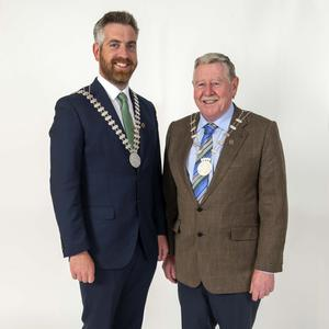 The newly elected Mayor of County Cork Cllr Christopher O'Sullivan (FF) and Deputy Mayor Cllr Martin Coughlan (Ind). Photo: Michael Mac Sweeney/Provision