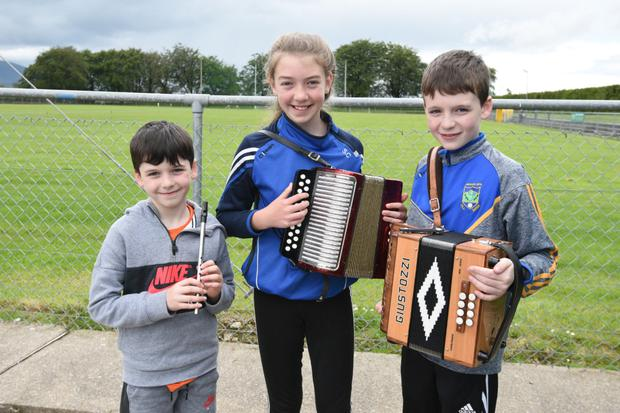 Knocknagree's Sarah Cronin joined by cousins Eoin and Darragh Brosnan at Cullen Feis Laitiarain. Picture JohnTarrant