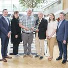Gerard Sheehan of DBM First Responders and Tim Sheehan, Mallow community activist were named June Cork Persons of the Month to mark their volunteering work over the decades. Pictured at the award presentation were: L-R Manus O'Callaghan, awards organiser; Ken Horgan, Lexus Cork; Ann-Marie O'Sullivan, AM O'Sullivan PR; Gerard Sheehan and Tim Sheehan; Karen O'Donoghue, Irish Examiner/The Echo; Michael Lynch, AV3 Media; Pat Lemasney, Southern. Photo: Tony O'Connell Photography