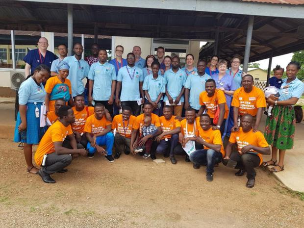 Katie Sheehan (back row, second right) from Charleville, who is the director of nursing at Croom Orthopaedic Hospital with the team of volunteers and trainees from the 'Learning for Lives - Ghana' mission