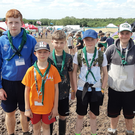 From left: Conor Murray, Lochlin Moore, Tiernan Moore (Sheffield), Aaron O'Riordan, Kian Crowley and Conor McSweeney at the Charnwood 2019 International Scout & Guide Camp
