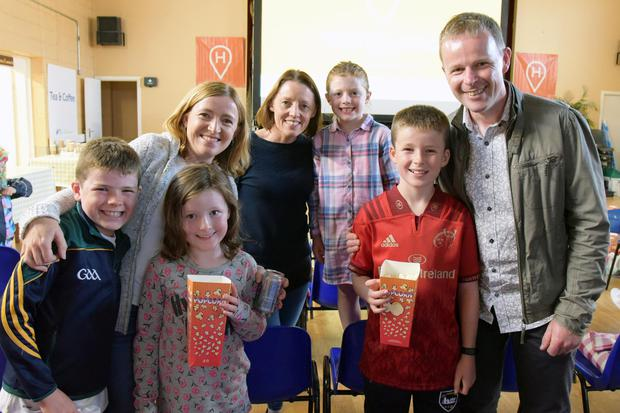 The McElroy Family, Michael, Annie, Máireád, Rory & Connor with Nina & Anna O'Driscoll, pictured at the SSE Airtricity Solar Powered Cinema at Clondrohid Community Recreational Facilities County Cork on Friday evening for the launch of 'Supporting Community Across Ireland'