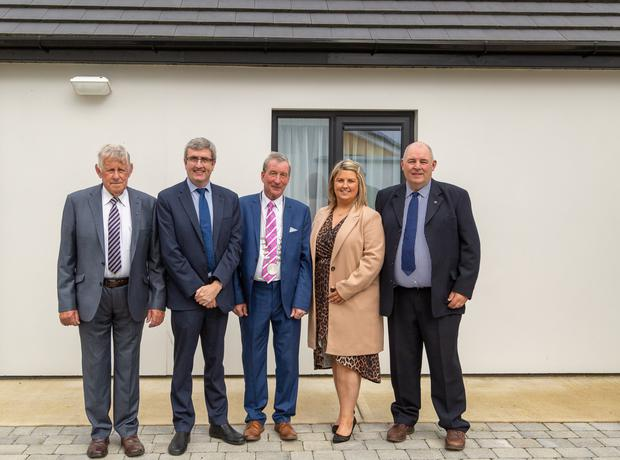 Dan Dineen (Finance Committee) Donal Mac Mánus (I.C.S.H.) Cllr Michael Looney (Deputy Mayor) Caitríona Ní Chéilleachair (Administrator) and Sean Kelleher (Committee) at the launch of three new homes at the Cuan Barra Project. Picture: Richard Coleman