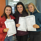 St. Mary's Mallow students Jessica Creedon, Ciara O'Connor and Ciara Hughes were clearly delighted with their results