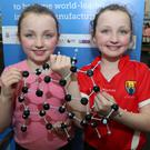 Knocknagree Twins Danielle and Shona Fitzpatrick checking out a Laser Induced Graphene Sensor. Photos by Sheila Fitzgerald.