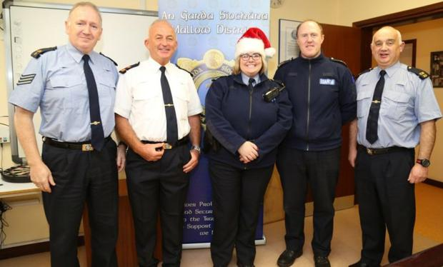Garda Olga Smyth, one of the co-ordinators of 'Operation Hamper' at Mallow Garda Station, with colleagues Sergeant John Foley, Superintendent Billy Duane, Sergeant John O' Leary and Garda John Fitzgerald