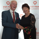 Nora May O'Riordan from Kilbrin, winner of the 2019 Cork Over 60's Talent Competion with competition founder and organiser Paddy O'Brien