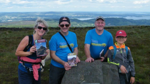 Dillon Lynch, his father Pat, aunt Josephine and uncle Johnny at the summit of Moylussa, Co Clare in 2019