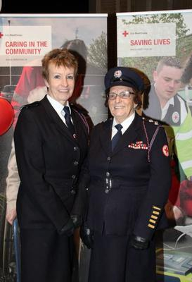 Mrs Sheehan with her daughter, Imelda O'Connor, at a function in Cork City Hall in 2014, where they were honoured for their combined 100+ years' service to the Red Cross.