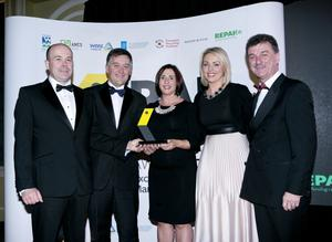 Pictured at the Pakman Awards are SMILE Resource Exchange, winners of the Waste Prevention Business Award, sponsored by Repak. From left: Minister for Communications, Climate Action and Environment Denis Naughten, Sean O'Sullivan, Katharine Corkery and Michelle Green, and CEO of Repak, Seamus Clancy. Photo Chris Bellew / Fennell Photography