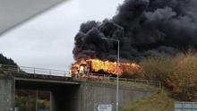 The extent of the flames can be seen from this angle as a truck caught fire on Tuesday