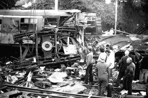 Some of the twisted wreckage in the aftermath of the 1980 disaster