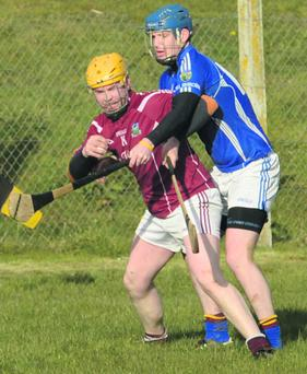 Kieran Broherick(Freemojnt) attempts to wrestle away from Kilbrin's Daniel Sheahan in the Kanturk Credit Union Duhallow Junior A Hurling League. Photo: John Tarrant