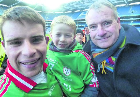 Damien Kelleher celebrating after All Ireland win with his cousin Simon Leneghan, Mallow and his dad Jos Kelleher