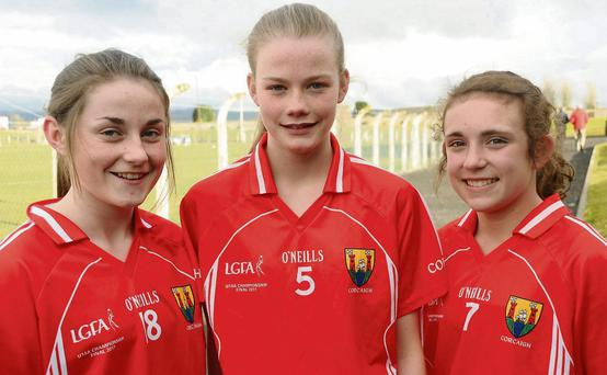 St Val's players Sarah Byrne, Ciara McCarthy and Cira Hughes who were on the Cork under 14 team that recently defeated Kerry - the girls are now in the Cork Co final as well.