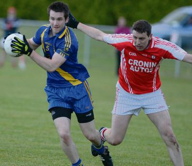 Niall Fleming about to shoot Ballydesmond's goal against Dromtariffe in the Duhallow Cup. Photo by John Tarrant