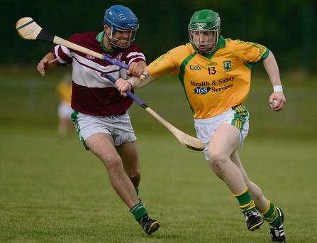 Meelin talisman Eamon Brosnan makes inroads on the Aghabullogue defence in the Co. IHC at Mallow. Photo: John Tarrant