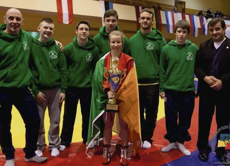Competitor of the Tournament winner Niamh Looney, along with her Coach Seamus Manning and Irish team-mates at the Sambo International tournament in Lithuania.