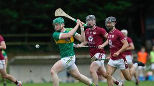 Newtownshandrum's Cormac O'Brien fires in his side's goal during last weekend's Co-Op Superstores Premier Senior Hurling Championship game with Bishopstown in Fermoy Photo by Eric Barry