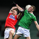 Michael Hurley of Cork in action against Robert Childs of Limerick during the McGrath Cup Final match between Cork and Limerick at LIT Gaelic Grounds in Limerick. Photo by Piaras Ó Mídheach / Sportsfile