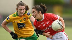 Ciara O'Sullivan of Cork in action against Róisín Rodgers of Donegal during the Lidl Ladies National Football League Division 1 semi-final match between Donegal and Cork at Tuam Stadium in Galway. Photo by Harry Murphy / Sportsfile