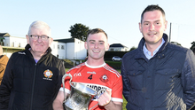 Dromtariffe captain Darren O'Connor thrilled to accept Duhallow JAHC Trophy from Joe Kearns, Chairman and Connie Tarrant, sponsors. Photo by John Tarrant