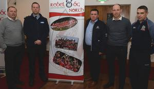 Pictured at the Rebel Og North Workshop on Mental Health and Well Being were Keith Ricken, Cork U20 Football Manager; Garda Philip Hayes; Pat Spratt, GDA; Barry Corkery, Senior Addiction Counsellor and Kevin O'Callaghan, Cork Games Manager. Picture John Tarrant