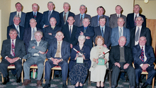 Members of the 1959 Dromtariffe Junior Football team at a function in 2009 to mark their 40th anniversary of winning the Duhallow JAFC. The late Bernie Dillon is second from left back row. Photo by John Tarrant