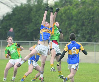 Who's for the ball between Cullen and Millstreet in three Ducon Cup in Cullen. Picture John Tarrant.