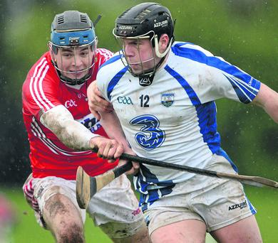 Jake Dillon, Waterford, in action against Christopher Joyce, Cork. Allianz Hurling League. Photo: Matt Browne / SPORTSFILE