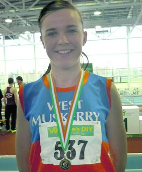 Rachael O'Shea after competing in the All Ireland U19 800m Indoor Champions in Athlone.