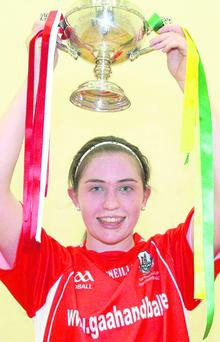 Ballydesmond handballer Catriona Casey, who won the 40x20 Ladies All-Ireland Open Singles Handball Championship title recently, after she defeated Maria Daly, from Kerry, in the Final in Kingscourt, Co Cavan.