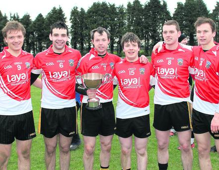 The old men of the Fermoy team finish their North Cork U21 days in style after victory over Clyda Rovers in last weeks final. L to R: Darragh O'Carroll, Jeff Daly, Seanie Shanahan, Mattie Condon, Kieran Dorgan and Kieran Morrison. Photo: Eric Barry