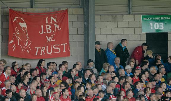 23 June 2013; A banner showing some Cork supporters' support of manager Jimmy Barry Murphy. Munster GAA Hurling Senior Championship Semi-Final, Cork v Clare, Gaelic Grounds, Limerick. Picture credit: Brendan Moran / SPORTSFILE