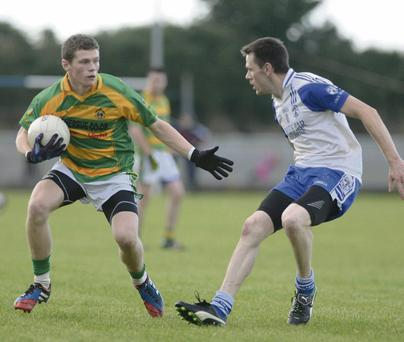 Billy O'Gorman attempts to set up a Boherbue attack against Knocknagree in the Duhallow JBFL semi final. Picture John Tarrant