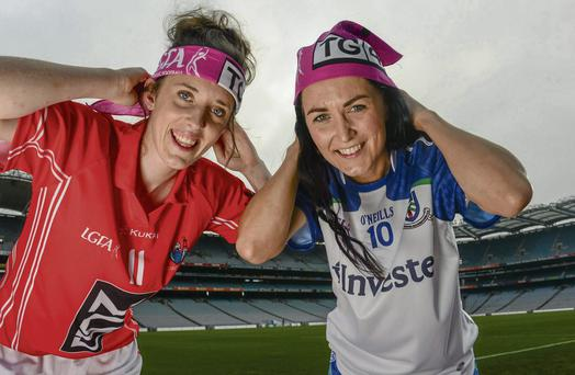 The TG4 Ladies Football Finalist's captains Ciara O'Sullivan, Cork, left, and Therese McNally, Monaghan, met ahead of the 40th Ladies Football Championship Finals.