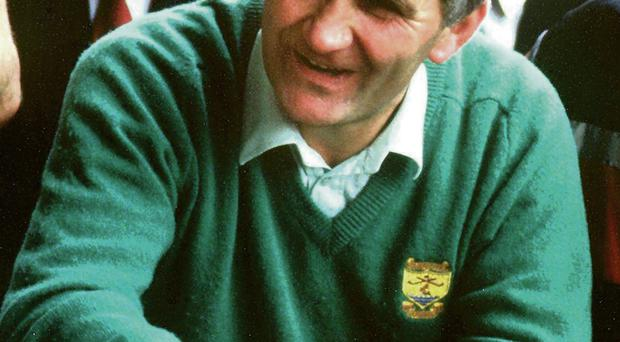 Mick O'Dwyer, with match programme rolled up in his hand, enjoys his eight and final All-Ireland final victory as Kerry manager after Kerry beat Tyrone in the 1986 final