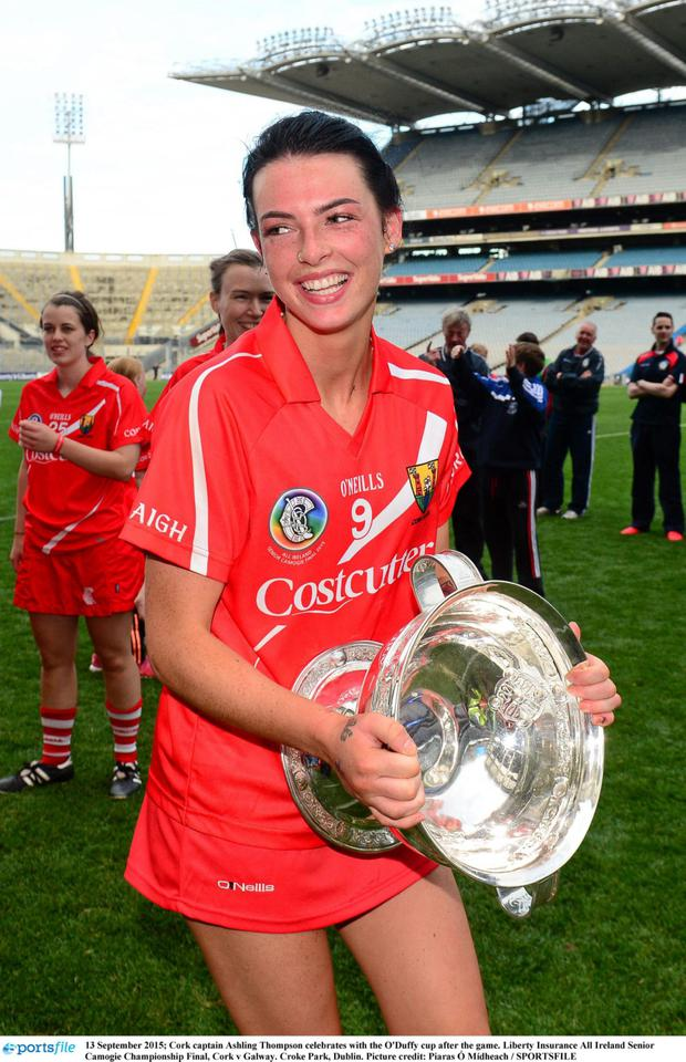 Cork captain Ashling Thompson celebrates with the O'Duffy cup