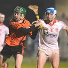 Liam OKeeffe shoots a goal for Duhallow against Blarney in the Co. U21AHC semi final