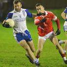 Knocknagree defender Jerry Carroll shields the ball against Iveleary in the County JAFL Final in Macroom