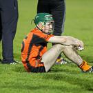 A very disappointed Liam O'Keeffe, Duhallow, after his team's loss to Blackrock in the County Under-21 A Hurling Championship Final replay at Pairc Ui Rinn, Cork