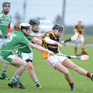 Conor O'Keeffe gets in a kick at the sliothar for Robert Emmets against Kanturk in the Duhallow U21HC Final. Picture John Tarrant
