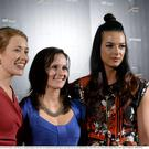 Cork Camogie players, from left, Rena Buckley, Aoife Murray and Aisling Thompson, whose team was nominated for the RTÉ Sports Team of the Year award, at the RTÉ Sports Awards. Photo by Piaras Ó Mídheach / Sportsfile