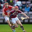 Conor Whelan, Galway, in action against Stephen McDonnell, Cork. Allianz Hurling League, Division 1A, Round 1, Galway v Cork. Pearse Stadium, Galway. Picture credit: David Maher / SPORTSFILE