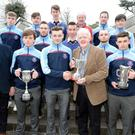 Kevin Cummins, Cummins Sports presents the monthly Rebel Óg Award to Scoil Gan Smál , Blarney captain Marc Coleman, All Ireland Post Primary Hurling champions at a function in the Clayton Hotel Silver Springs Hotel in the presence of School Principal Pádraig Sheehan, players and team management. Picture John Tarrant