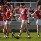 Cork's Luke Connolly and his team-mates after the game. Photo: Piaras Ó Mídheach / SPORTSFILE