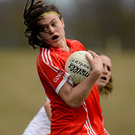 Hannah Looney, Cork, in action against Sharon Reel, Armagh. Photo: Seb Daly / SPORTSFILE