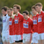 The Cork team stand for the National Anthem before the game. Photo: Piaras Ó Mídheach / SPORTSFILE