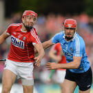 Bill Cooper of Cork in action against Ryan O'Dwyer of Dublin during the GAA Hurling All-Ireland Senior Championship Round 1 match between Cork and Dublin at Pairc Ui Rinn in Cork. Photo by Eoin Noonan / Sportsfile