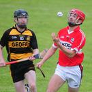 Banteer's Jamie Sexton controls the sliothar against Castlemagner in the Duhallow JAHC. Photo by John Tarrant